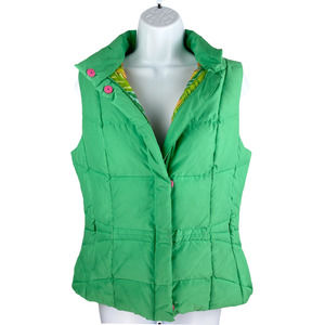 Lilly Pulitzer Green Duck Down Puffer Vest Small